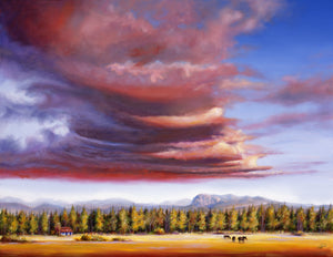 Brooding Storm 20x40 original oil painting by Pat Cross