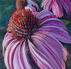 Courting Cone Flower 6x6 oil painting by Pat Cross