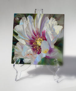 Crimson Core Peony 6x6 painting on a clear acrylic easel by Pat Cross