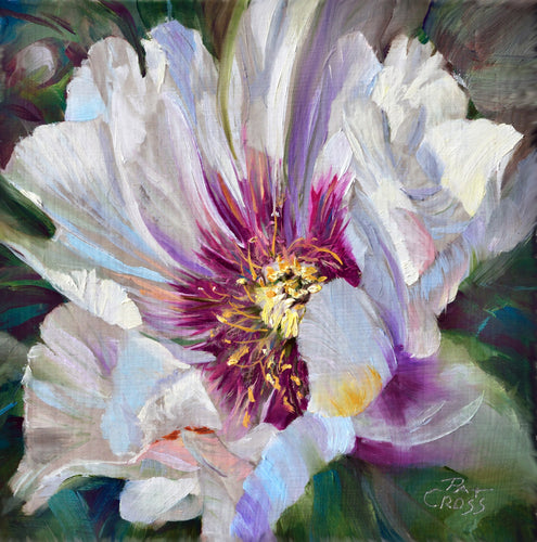 Crimson Core Peony 6x6 painting by Pat Cross