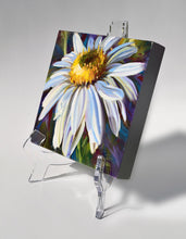 Load image into Gallery viewer, Crisp White Daisy 6x6 oil painting on an easel by Pat Cross