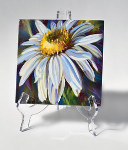 Crisp White Daisy 6x6 oil painting on an easel by Pat Cross
