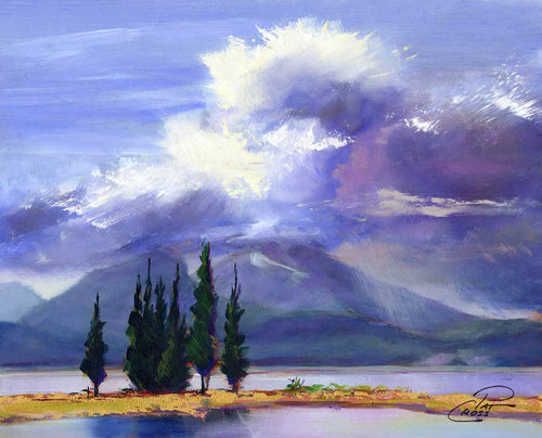 Cumulus Cloud Over Sparks Lake original oil painting by Pat Cross.