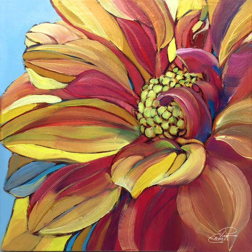 Dandy Dahlia 6x6 floral painting