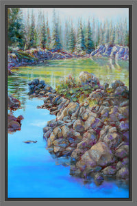 Emerald Path 36x24 framed oil painting by Pat Cross