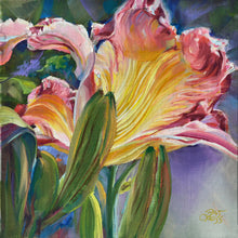 Load image into Gallery viewer, Fire Flame Daylily 6x6 painting by Pat Cross