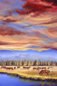 Grazing Sunriver Meadow 36x24 original oil painting by Pat Cross