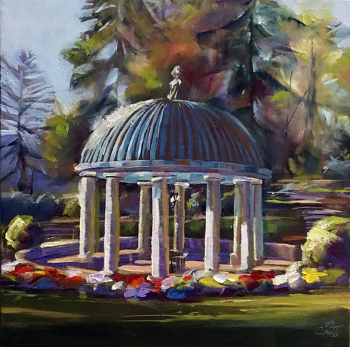Greenbrier Gardens Spring House oil painting by Pat Cross