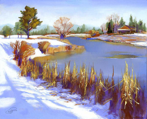 Hoarfrost on Sunriver 8x10 oil painting by Pat Cross.