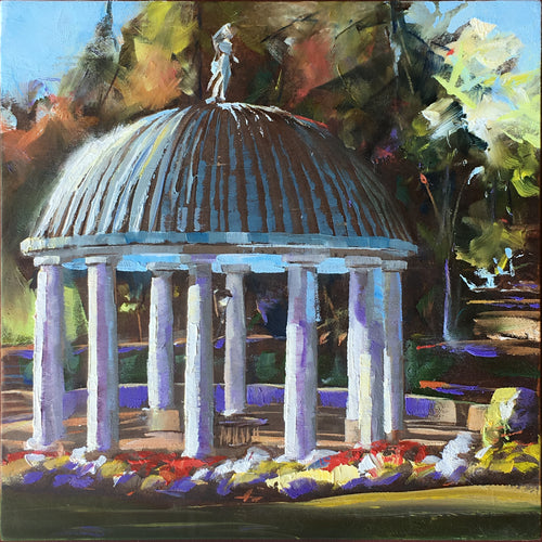 Greenbrier Spring House Pavilion 6x6 oil painting by Pat Cross