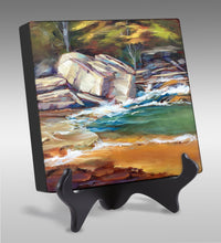 Load image into Gallery viewer, It Runs Deep 6x6 oil painting by Pat Cross set on a black display easel