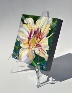 Pandora Lily painting on easel by Pat Cross