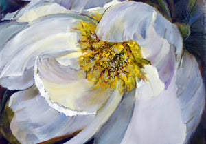 Peony White Delight original oil painting detail by Pat Cross.