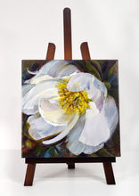 Load image into Gallery viewer, Peony White Delight original oil painting on easel by Pat Cross.