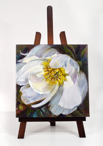 Peony White Delight original oil painting on easel by Pat Cross.