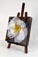 Load image into Gallery viewer, Peony White Delight original oil painting on easel facing left by Pat Cross.