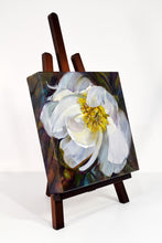 Load image into Gallery viewer, Peony White Delight original oil painting on easel facing right by Pat Cross.