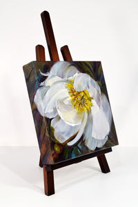 Peony White Delight original oil painting on easel facing right by Pat Cross.