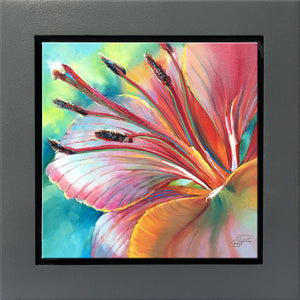 Psychedelic Lily framed 8x8 oil painting by Pat Cross