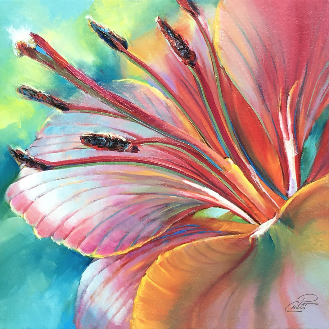 Psychedelic Lily 8x8 oil painting by Pat Cross