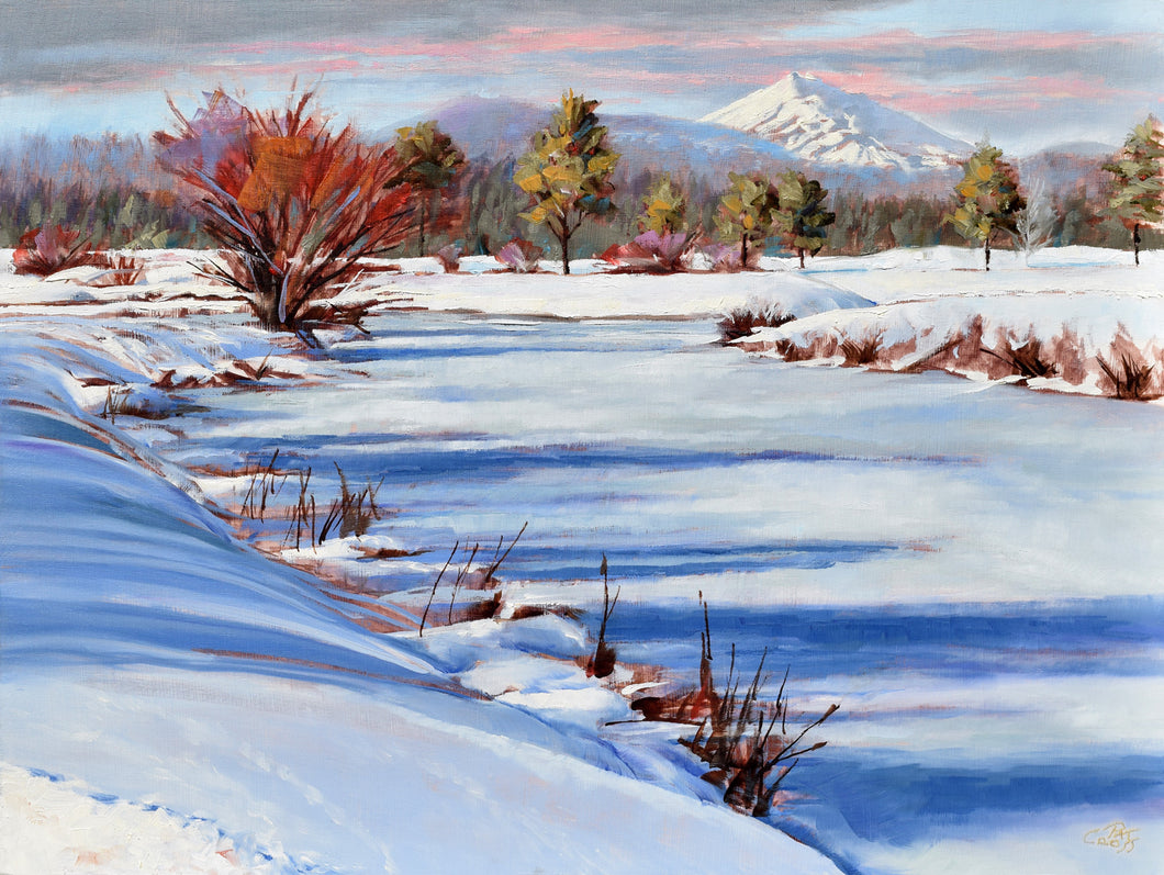 Red Winter Willow oil painting by Pat Cross.