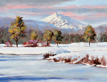 Load image into Gallery viewer, Red Winter Willow oil painting detail of Mt Bachelor by Pat Cross.