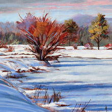 Load image into Gallery viewer, Red Winter Willow oil painting detail by Pat Cross.