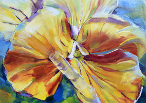 Sunny Petunia original oil painting detail by Pat Cross.