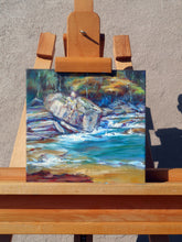 Load image into Gallery viewer, Tempting Very Tempting 10x10 oil painting shown on an easel by Pat Cross