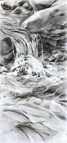 Water Whittles a Way original graphite and charcoal drawing by Pat Cross.