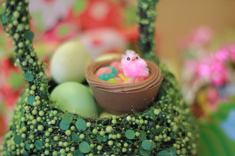 Solid Chocolate Nest filled with jelly beans and toy chick