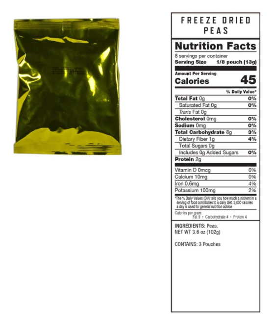 (120 Servings) Freeze Dried Emergency Vegetables