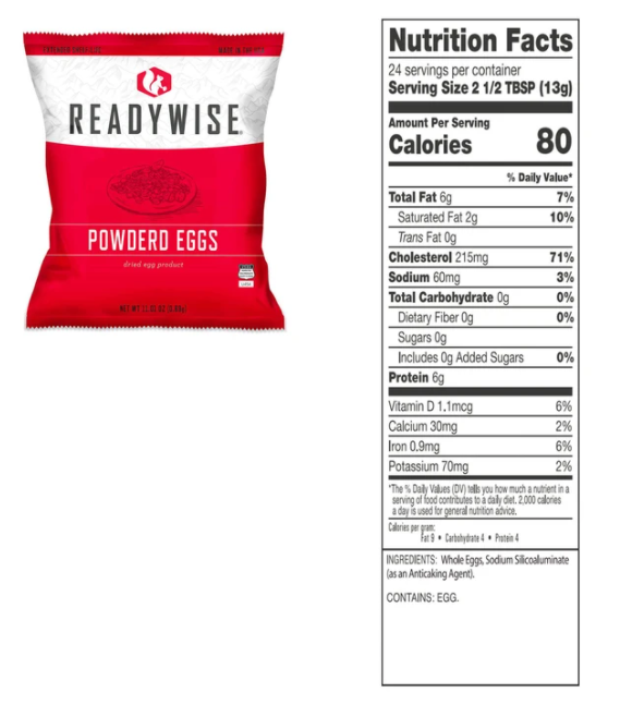 (144 Servings) Emergency Freeze Dried Powdered Eggs