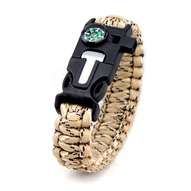 Emergency Survival Paracord 4mm Bracelet with Scraper, Whistle, Compass, and Buckle