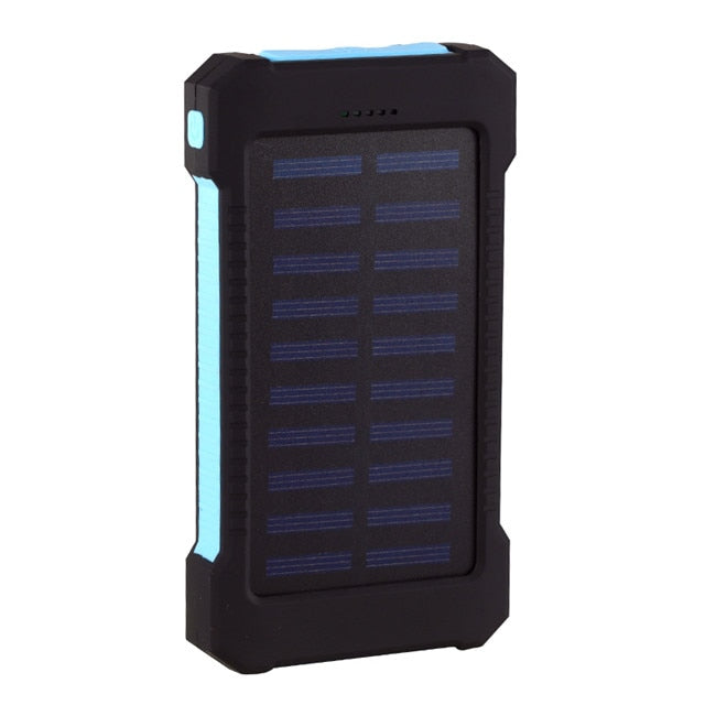 Black Hawk Waterproof Shockproof Solar Dual-USB 10,000mAH Power Bank and LED Light