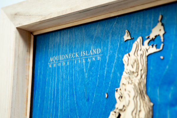 Aquidneck Island Topographical Contour Map - Kindred Photographic Designs by Kindred Photography LLC