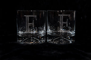 Personalized Letter Engraved Rocks Glass - Kindred Photographic Designs by Kindred Photography LLC