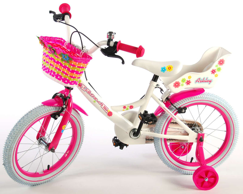 Volare Ashley Kinderfiets | Meisjes | 16 inch | Wit | 2 handremmen