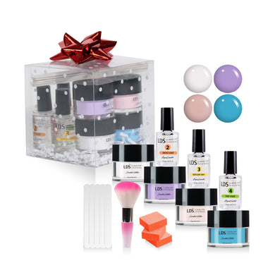 Trial Color Dip Kit: 5 Mini Files & 3 Buffers, 1 Mini Brush, 3 Dipping Powder Essentials, LDS10,50,88,CLEAR 0.5oz
