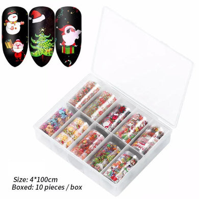 10 Rolls Christmas Nail Art Foil Tranfer Sticker part 1
