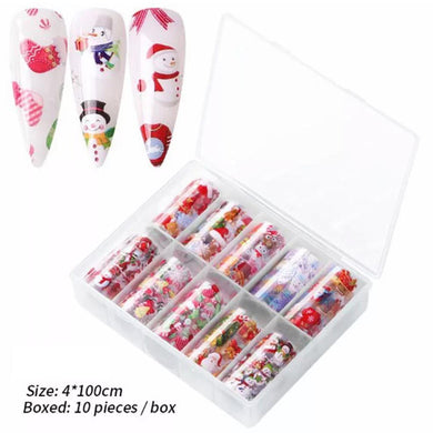 10 Rolls Christmas Nail Art Foil Tranfer Sticker part 3