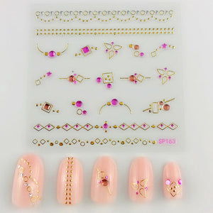3D Laser Bronzing Nail Stickers SP163