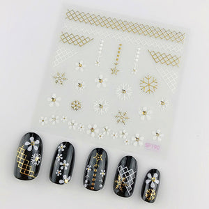 3D Laser Bronzing Nail Stickers SP190