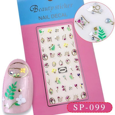 3D Laser Bronzing Nail Stickers SP099