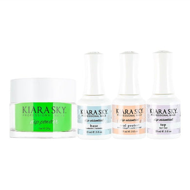 Kiara Sky - Base, Top, Sealer Protect, Dip Powder Combo - 448 Green With Envy