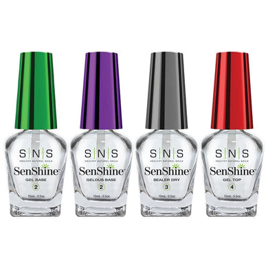 SNS Senshine Dipping Essential Kit 3 - Gelous Base, Gel Base, Sealer Dry, Gel Top - 0.5oz