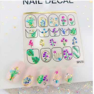 3D Laser Bronzing Nail Stickers SP070