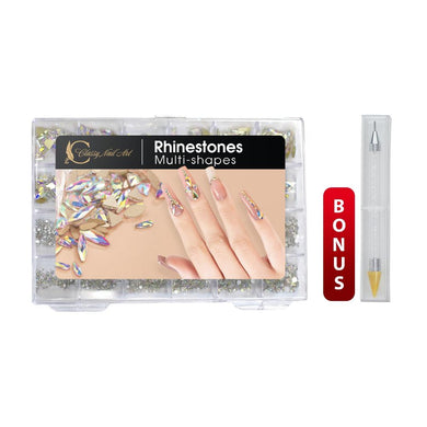 Complete Set of Nail Storage Box with Crystal Rhinestones & Accessories