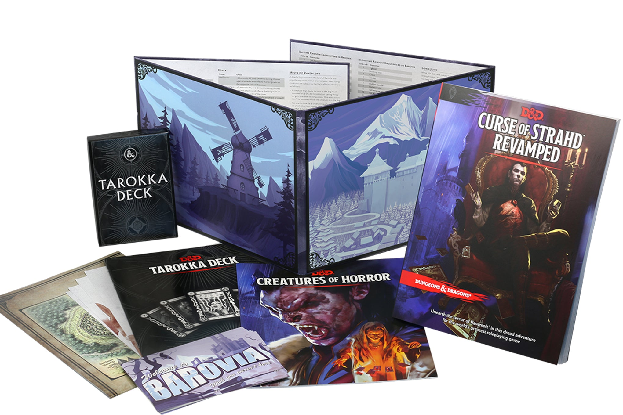 Picture of the contents of the Curse of Strahd Revamped box