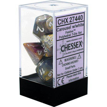 Chessex: Festive Carousel w/ White - Polyhedral Dice Set (7) - CHX27440